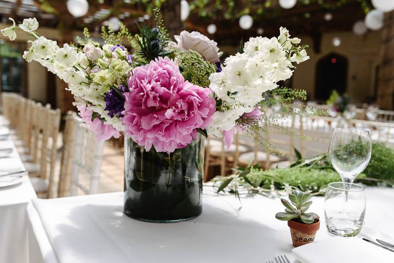 Persephone Violet Bespoke Wedding Table Flowers