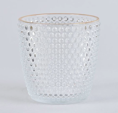Gold Rim Spotted Glass Tea Light Holder