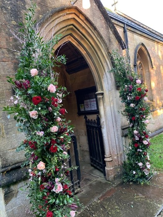 Persephone violet prop hire - Birch pole open archway