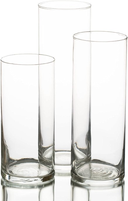 Set of 3 Staggered Height Cylinder Vases