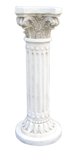 White Detailed Roman Pillar Medium